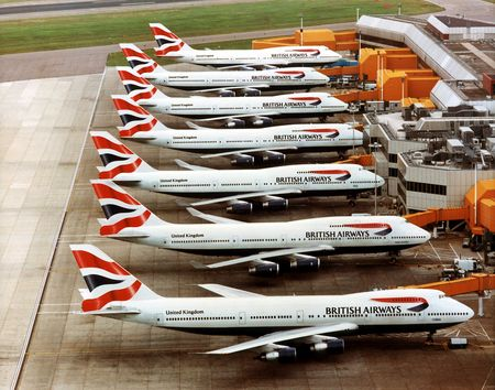 airlines | British Airways 747s at the gate at Heathrow | Boeing 747