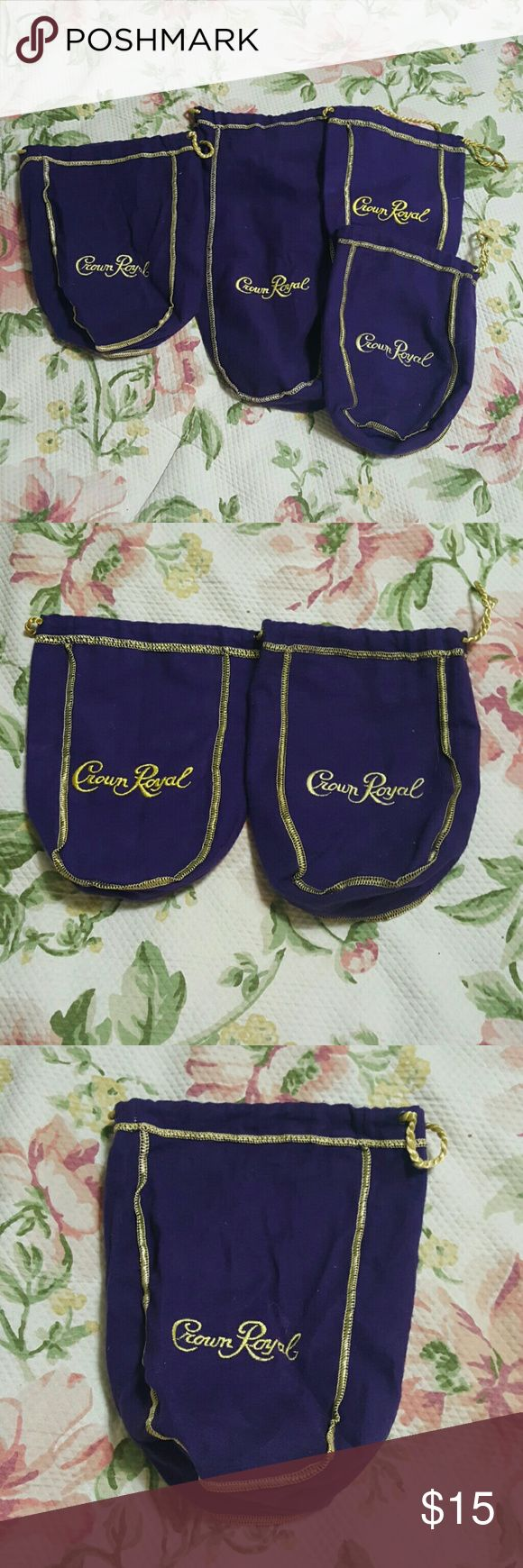 4 crown royal bags Set of 4 purple crown royal bags! 1 large, 1 medium, 2 small. Approx measurements are taken from drawstring and gold seams in inches. Buy these 4 get a 5th crown royal bag free!  Large 12x5x4 Medium 9x5x2.5 Small 7.5x4x2.5 Small 7x4.5x3 Bags Satchels