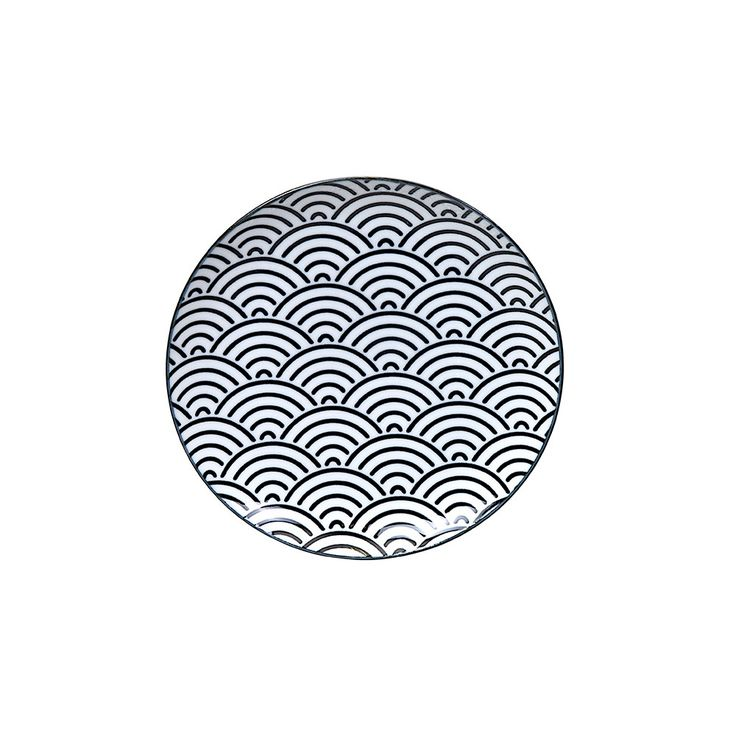Tokyo Design Studio - Nippon Black Side Plate - Wave  | Amara