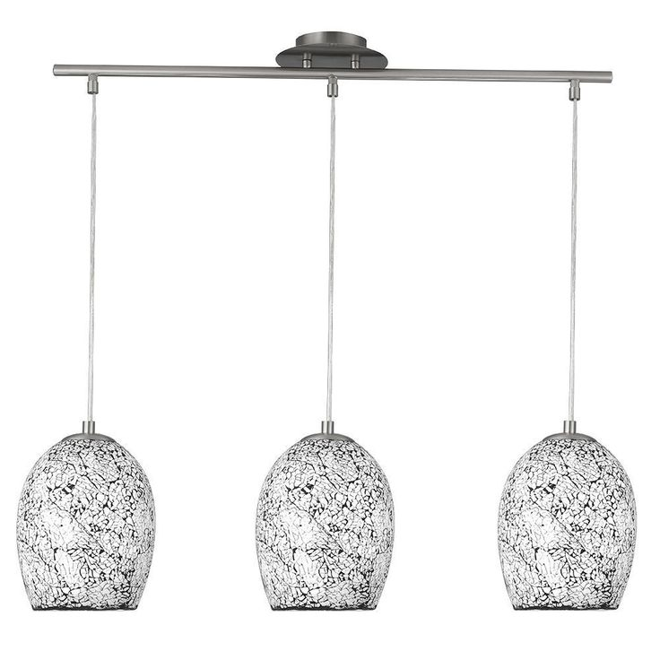 SEARCHLIGHT 3 LIGHTS WHITE CRACKLE STYLE GLASS PENDANT CEILING CHANDELIER LIGHT