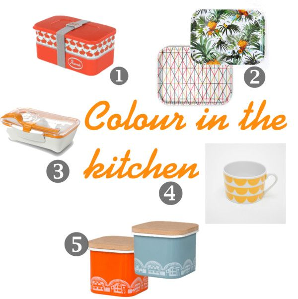 Colour in the kitchen can really brighten a kitchen and these lovely colourful kitchen accessories look amazing in white bright modern kitchen