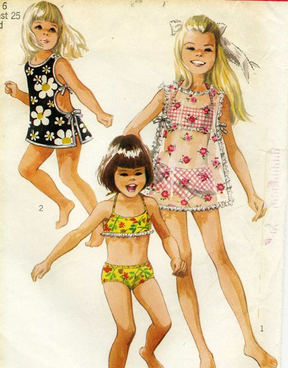 Vintage 1960s Simplicity 8272 Toddler Girls Bathing by RomasMaison, $18.00