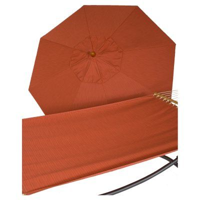 Phat Tommy 9 ft. Wood Sunbrella Umbrella and Hammock Set Papaya - 330/350-COMBO.PAPAYA, Durable