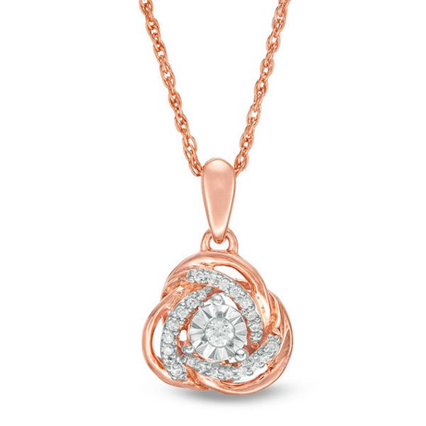 1 10 Ct T W Diamond Love Knot Pendant In 10k Rose Gold Pendants Rose Gold Diamond