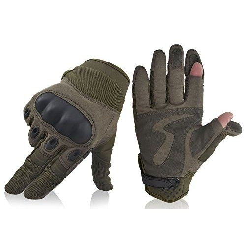 ZXP Adjustable Men Tactical Gloves Shooting Airsoft Knuckle Combat Gloves Climbing Gloves (Black, S)