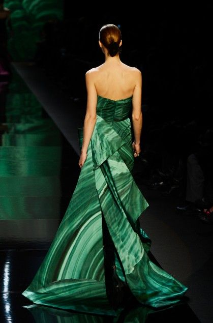 Beautiful malachite dress by Monique Lhuillier.  New York fashion week 2013.
