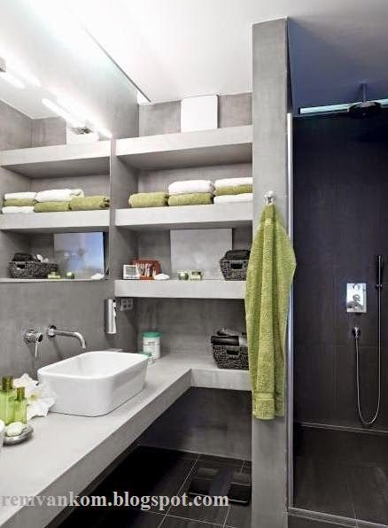 встроенные полки в ванной 2