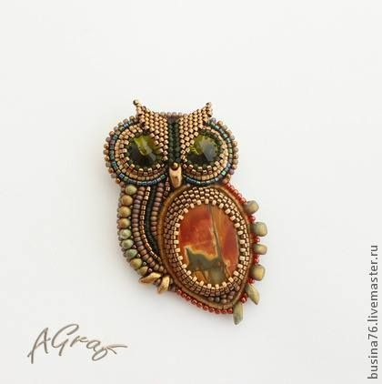 Beaded owl brooch with Picasso jasper, Swarovski crystals and seed beads. Автор: Анастасия Граф Author: Anastasia Count