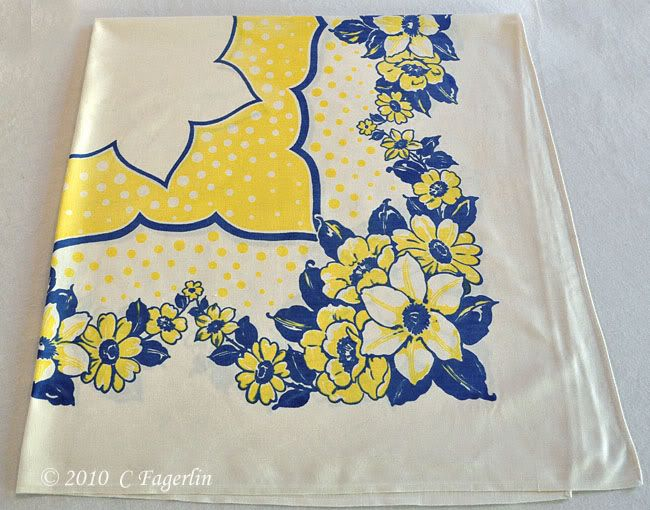 Vintage Blue And Yellow Tablecloth