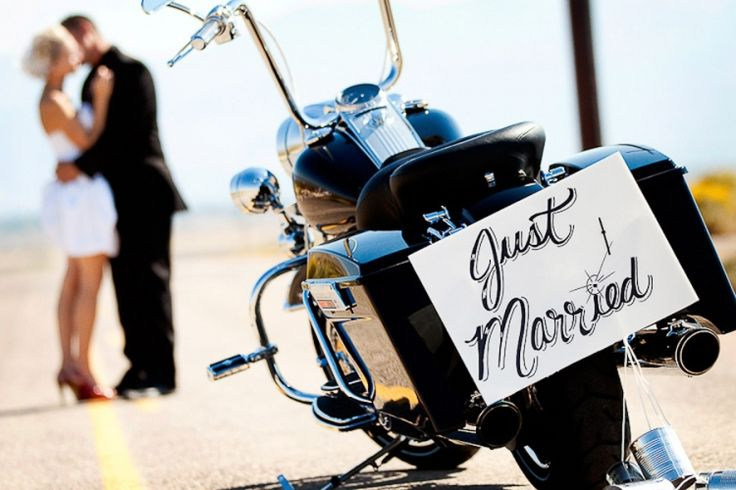 Just Married. Motorcycle wedding photo.