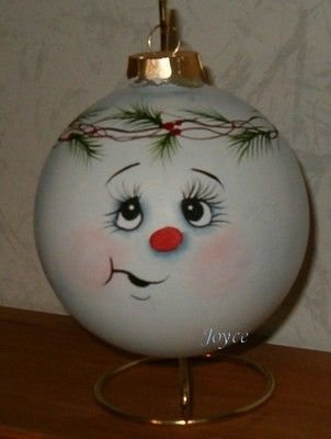 """Clear glass ornaments are transformed into cute snowball characters with differentexpressions. Chose from the classic carrot nose or acute button nose. These are large 4"""" inch hand paintedornaments they make the perfectgift for co-works, teachers, friends and family. I paint each ornament by handso quantity will be limited."""