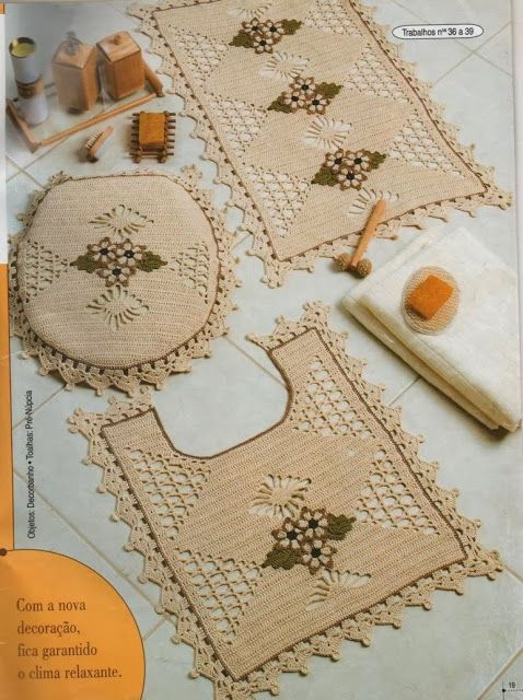 Crochê Tricô  Gráficos Jogo de Banheiro em Barbante  Crochê banheiro  Pin -> Jogo De Banheiro Simples Em Croche Com Grafico