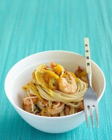 Put the water on to boil before you prepare all the ingredients, then cook the shrimp and vegetables at the same time as the pasta.