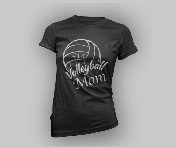 Personalized Volleyball Mom Glitter Tee
