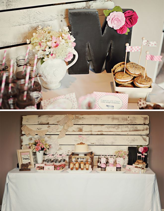 vintage farm fresh birthday party: pink, cream and chocolate brown--floral, stripes and gingham