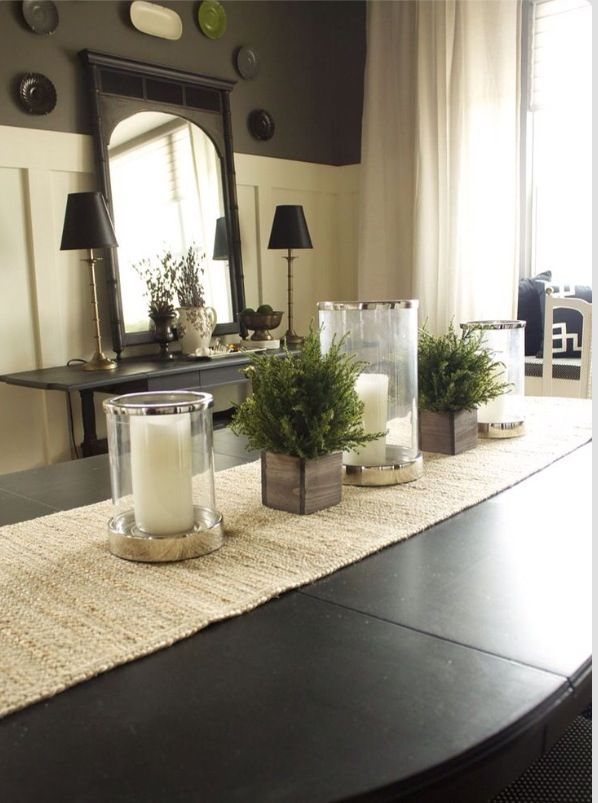 Dining room table decor home sweet home pinterest for Dining room arrangement ideas