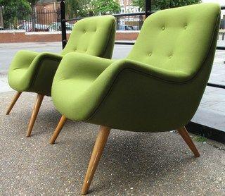 German 1950s bucket chairs in green bute wool