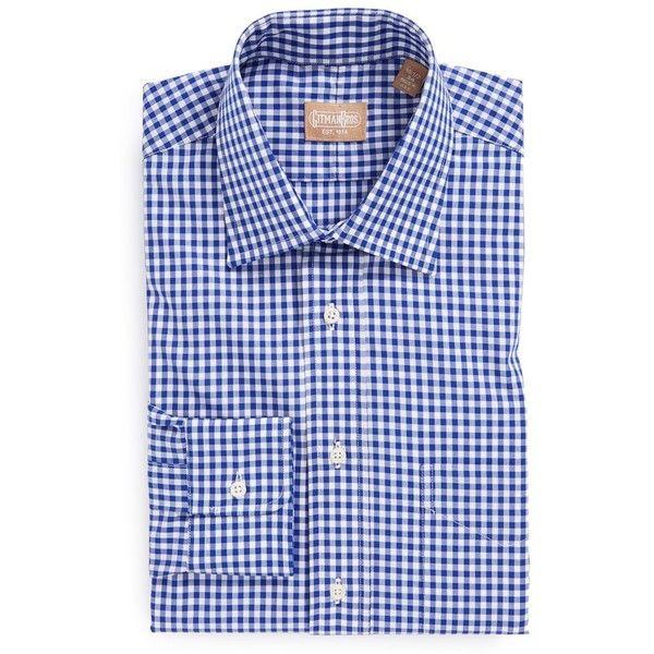 Gitman Regular Fit Cotton Gingham English Spread Collar Dress Shirt ($175) ❤ liked on Polyvore featuring men's fashion, men's clothing, men's shirts, men's dress shirts and blue