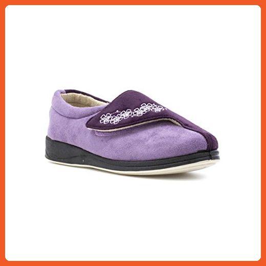Padders Womens Purple Easy Fasten Slipper - Size 8 UK / 10 US - Purple - Slippers for women (*Amazon Partner-Link)