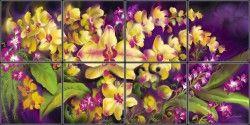 Contemporary Orchid Tile Mural | Pacifica Tile Art Studio