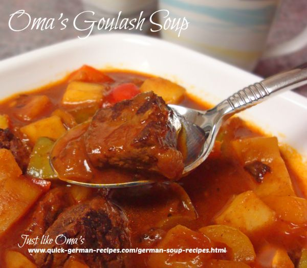 German Goulash Soup - check this out: http://www.quick-german-recipes.com/goulash-soup.html