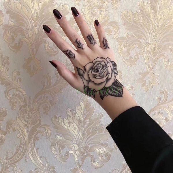 Try 5 63 20 Off ملصق تاتو مؤقت مضاد للمياه عليه وردة وردية مزيفة تاتو فلاش تاتو الذراع اليدو In 2020 Hand Tattoos For Women Full Hand Tattoo Foot Tattoos For Women