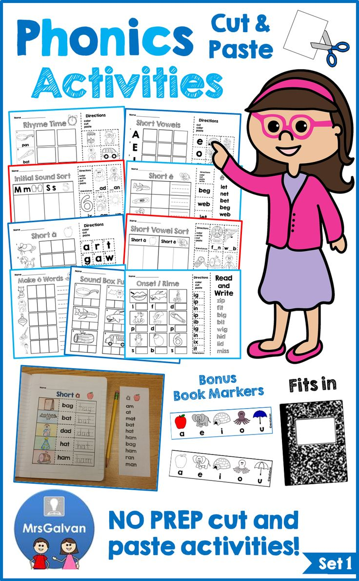 Be ready for back to school with 100 activities! 5 FREE pages in PREVIEW! The Phonics Cut and Paste Activities NO PREP pages are a FUN, hands-on approach to practicing Rhyming, Initial Sounds, Short Vowels, CVC Words, Onset / Rime, Word Reading, Making Words, Writing Words, Sight Words, and Sentence Reading. BONUS Short Vowels Bookmarks in color and black and white! Pages fit inside a journal. All 100 pages are in black and white! Just PRINT and GO!