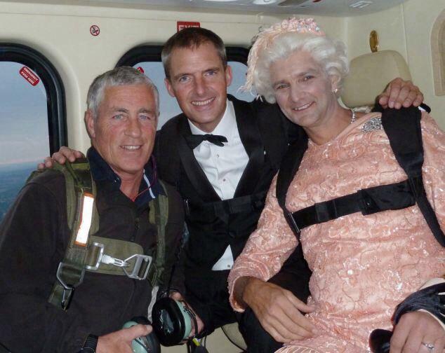 queen elizabeth olympics dress paratrouper  pilot james bond