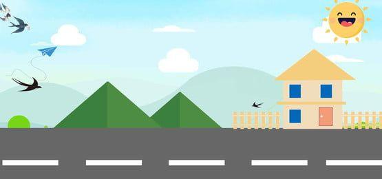 Verao Estrada Verde Paisagem Cartoon Verde Fundo Paisajes Verdes Paisaje Verano Medios De Transporte Dibujos