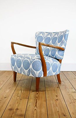 RETRO VINTAGE 50s ARMCHAIR DECO OAK LARGE COCKTAIL CHAIR MID CENTURY FABRIC
