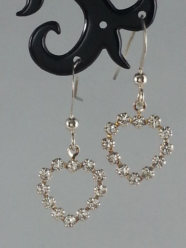 Clear Swarovski crystal heart on sterling silver earrings