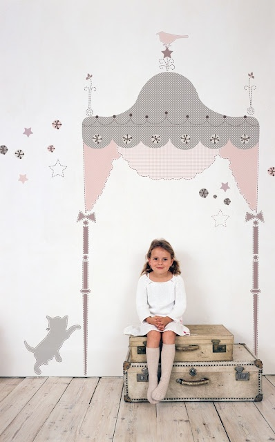 This is a great idea for a creative space in kids' rooms - could paint all sorts of things on the walls for make believe play time.