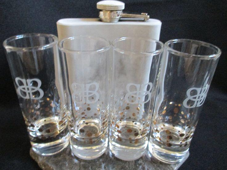Baileys Irish Cream tall shot glasses vintage barware gold confetti dots