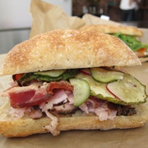 William Werner's pork and roasted-carrot sandwiches, served with house pickles.