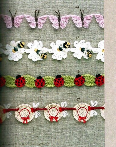 FREE Butterfly, Flower, Ladybird and Bonnet Edging Crochet Chart Pattern / Tutorial