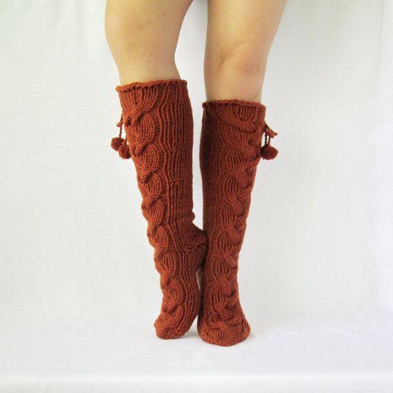 SALE! Knit brown socks Handmade Knee high Socks  Wool socks Warm winter socks