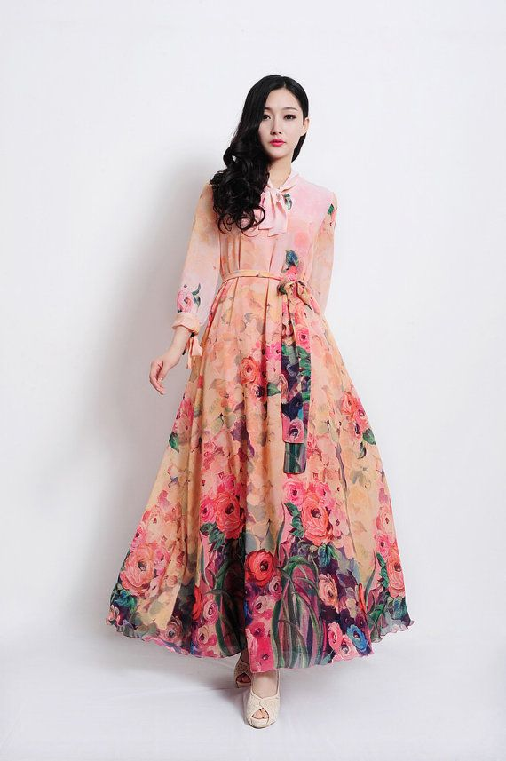 Bohemian Pink Floral Print Long Sleeve A-line Dress Full Pleated Skirt Beach Wedding Dress Bridesmaid Day Evening Holiday Fashion Ball Gown