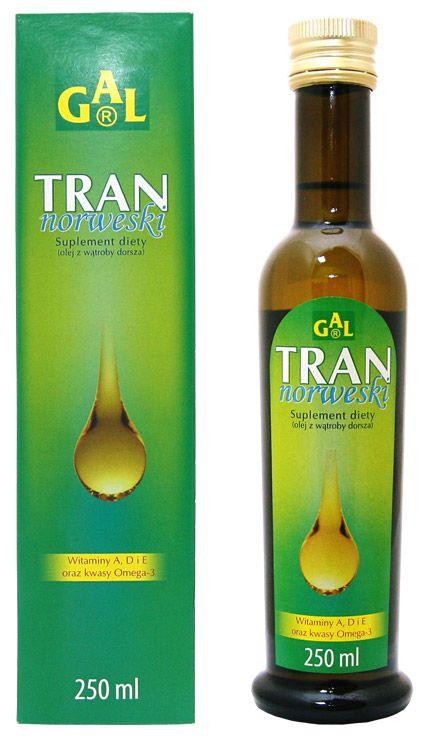 Tran - Tran norweski - Witaminy A, D i E oraz kwasy Omega-3, 250 ml. Skład: olej z wątroby dorsza, witamina E.