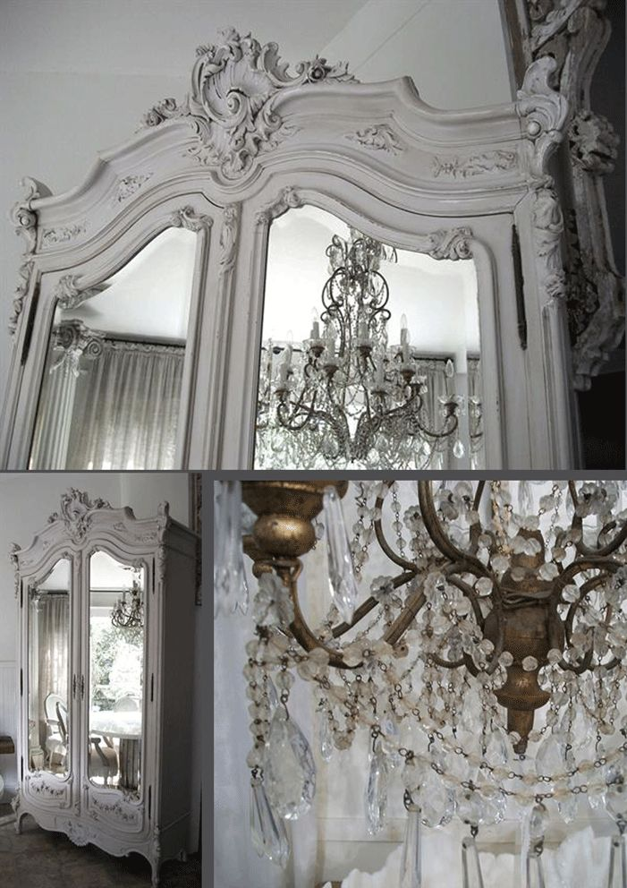 White Antique Armoire And Chandelier The Mirrors Would Make My Future Dining Room Look Bigger