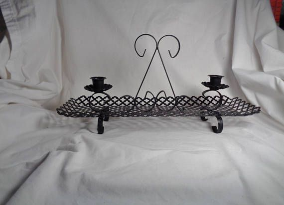Vintage MCM Wrought Iron & Reticulated Metal Black Candle Holder, Large Double Candle Holder, Mid Century Modern, Gothic, Shabby Cottage #mcm #wroughtiron #candlesandholders  #candleholder #midcentury #reticulatedmetal #metalcandleholder #gift #etsy #etsyseller