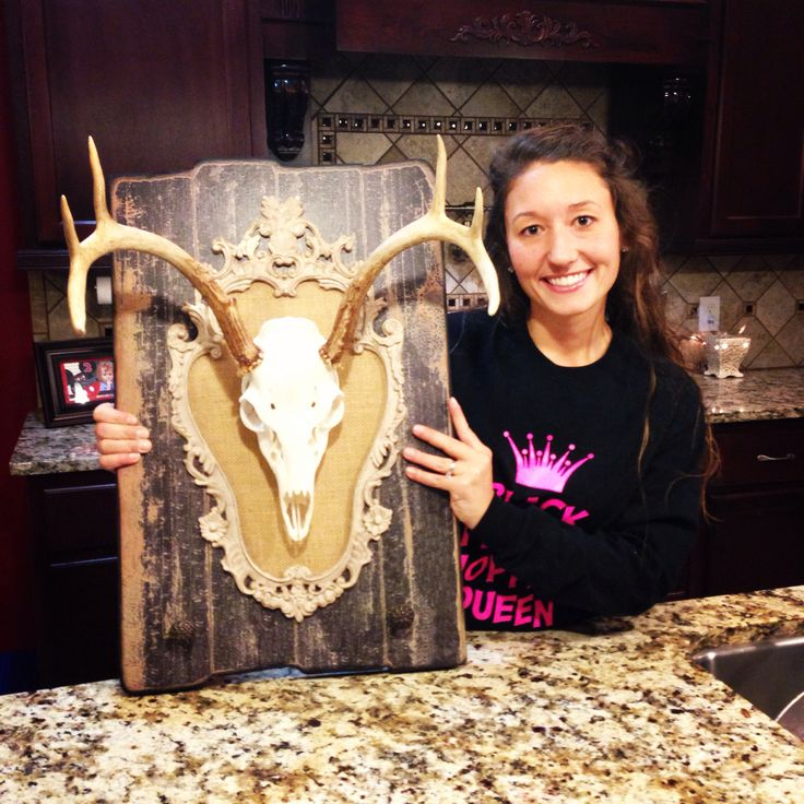 My girlie, shabby chic, European deer mount....homemade by yours truly!!! I am in love!