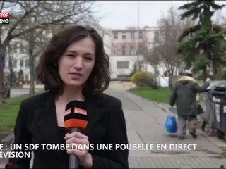 Pologne : un SDF tombe dans une poubelle en direct à la télévision, la vidéo hilarante