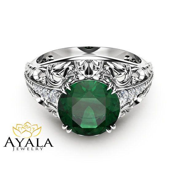 2 Carat Emerald Engagement Ring in 14K White Gold by AyalaDiamonds