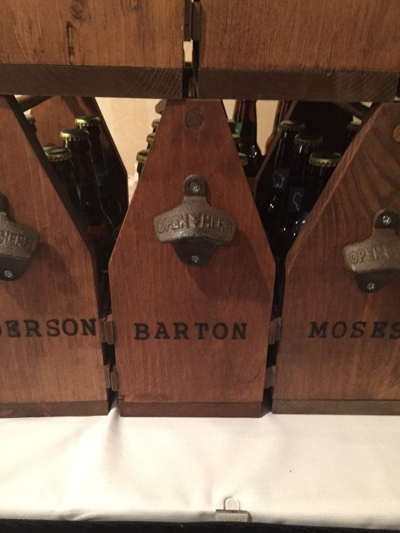 Rustic 6 Pack Bottle Carrier by YourFathersWoodShop on Etsy Homemade groomsmen gift Father's Day gift