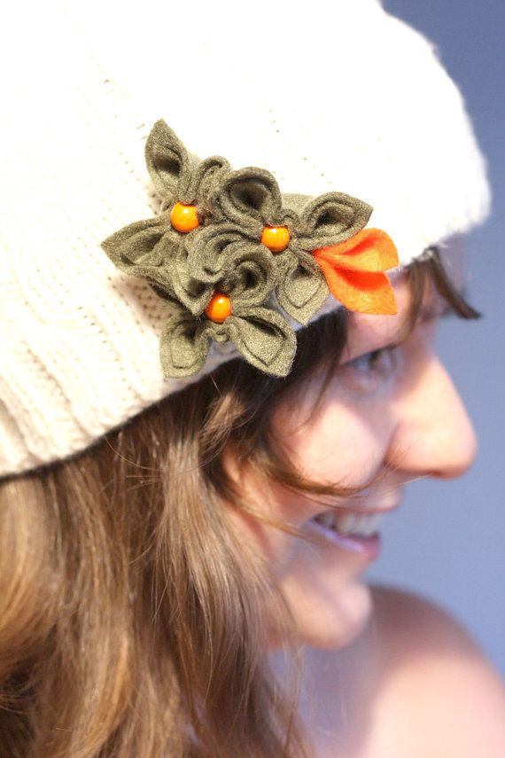 Olive with Orange Felt Flower Brooch by GoodFloristDesign on Etsy