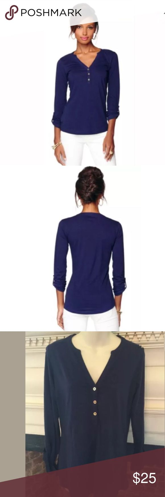Lilly Pulitzer Janelle Henley Top Shirt True Navy Excellent condition! Lilly Pulitzer Tops Tees - Long Sleeve