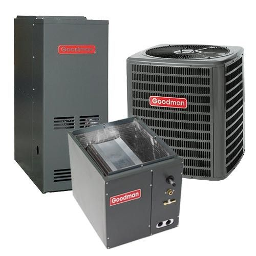 Goodman 1.5 Ton 13 SEER 80% AFUE Gas Furnace and Air Conditioner System - Downflow
