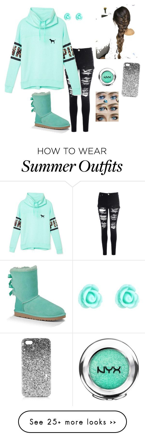 Outfit for school by okiegirl1997 on Polyvore featuring Glamorous, Victorias Secret PINK, UGG Australia, NYX, Monsoon and Topshop