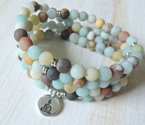 Amazonite Mala 108 beads Mala Bracelet or by LifeForceEnergyShop