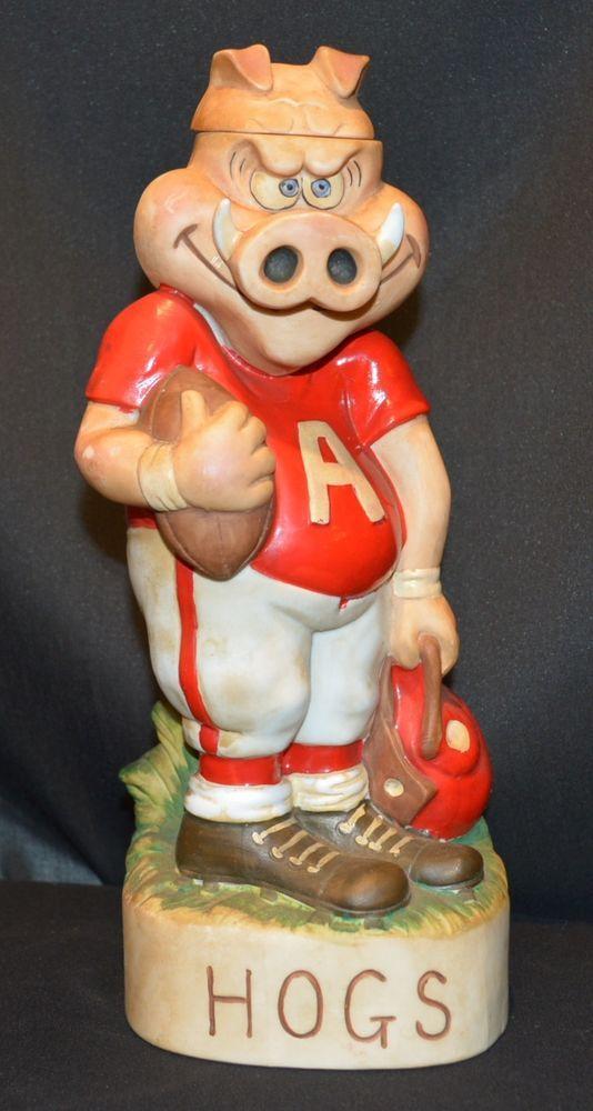 Vintage Arkansas Razorback Hogs Football 1972 McCormick Bourbon Decanter
